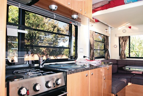 Talvor MacLeayn motorhome kitchen and stove