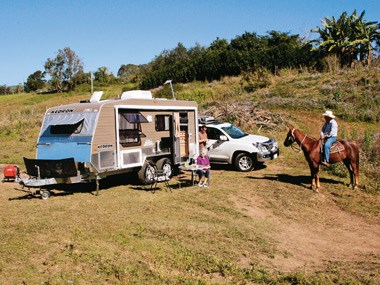 The Kedron Caravans Cross Country XC3 and a friendly horse