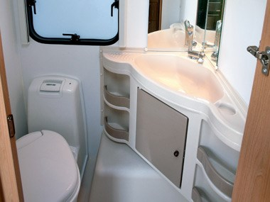 Adria Caravans Adora 612 DP bathroom and sink
