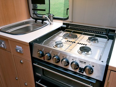Adria Caravans Adora 612 DP stove and kitchen sink
