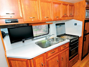 Newlands Caravans Onyx kitchen and sink