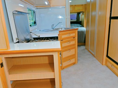 Evernew Caravans E100 interior storage