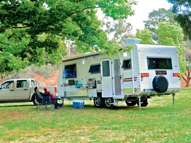 Evernew Caravans E100 in a park