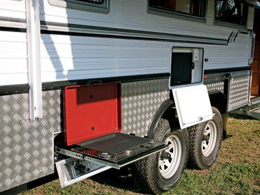 Bushtracker custom offroad caravan exterior open
