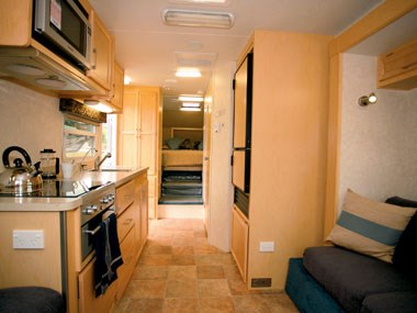 Cut Loose Roebuck caravan interior kitchen and lounge