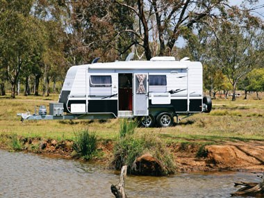 Royal Flair Caravans Aussiemate exterior by the creek