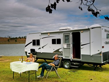 Forest River RV Wildwood caravan set up outside