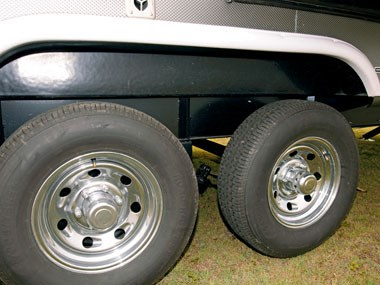 Forest River RV Wildwood caravan wheels and suspension