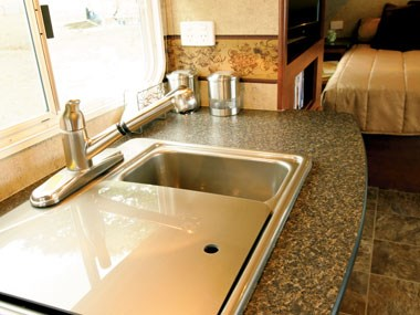 Forest River RV Wildwood caravan kitchen and sink