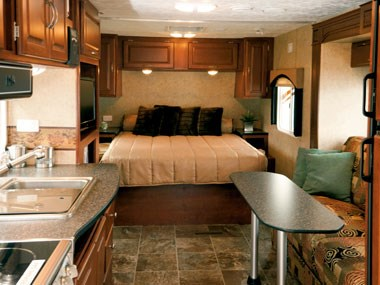 Forest River RV Wildwood caravan interior view of lounge