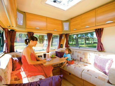 bailey caravans unicorn barcelona interior lounge seats up to four people