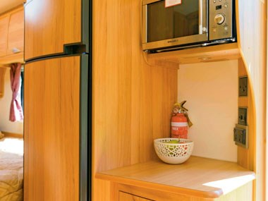 Bailey Caravans Unicorn Barcelona kitchen and microwave