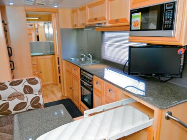 Aussie Wide Caravans Bunderra lounge with extended ironing board