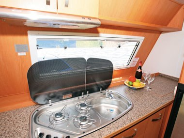 Sunliner Carnie caravan interior sink and kitchen