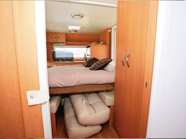 Sunliner Carnie caravan interior storage under bed
