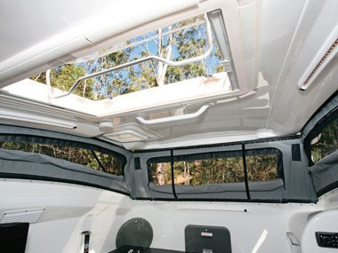 Bolwell RV Edge fibreglass caravan interior opened roof