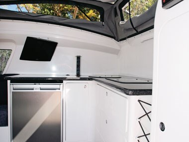 Bolwell RV Edge fibreglass caravan interior kitchen and sink area