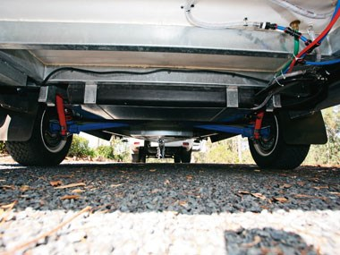 Bolwell RV Edge fibreglass caravan suspension view