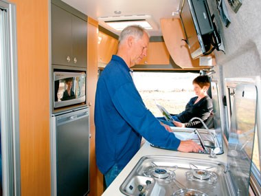 Horizon Acacia 4X4 motorhome interior cooking area and sink