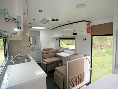 Lotus Caravans Vogue interior open storage