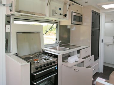 Lotus Caravans Vogue interior cooking area