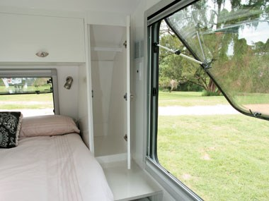 Lotus Caravans Vogue interior view to outside