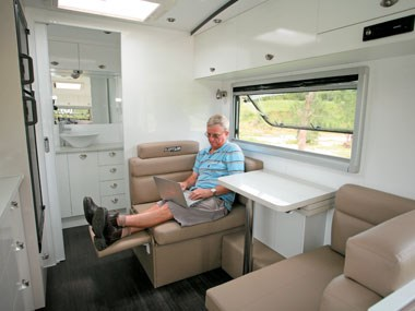 Lotus Caravans Vogue interior seating and dining