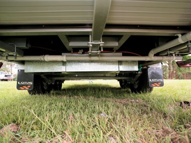 Lotus Caravans Vogue exterior view of chassis and suspension