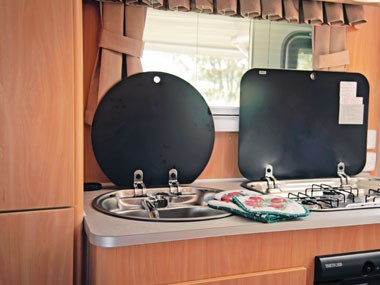 A'van Aspire 499 caravan interior kitchen area