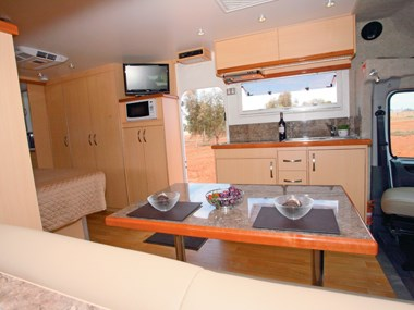 Paradise Integrity motorhome interior dining area