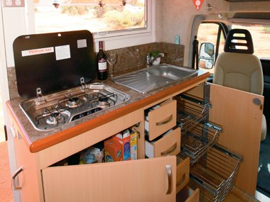 Paradise Integrity motorhome kitchen area