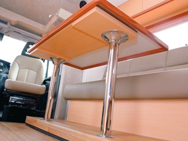 Paradise Integrity motorhome interior lift-up table