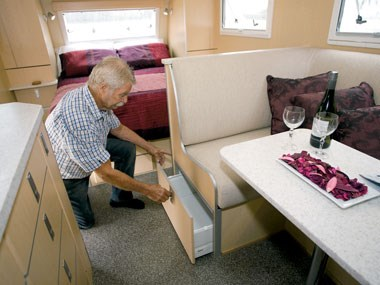 SLR Caravans 1900 Premium Off Road caravan seating storage