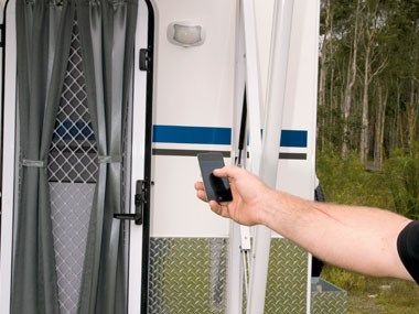 Sunland Caravans Winton IV mobile control on exterior door