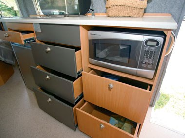 horizon motorhomes grevillea campervan kitchen adn storage