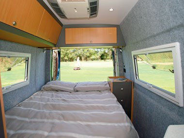 horizon motorhomes grevillea campervan interior bed