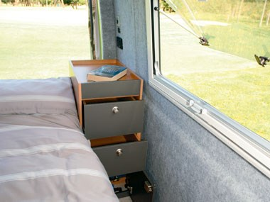 horizon motorhomes grevillea campervan bed-side storage