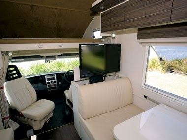 Sunliner Monte Carlo M72 motorhome tv, dinette and front cab