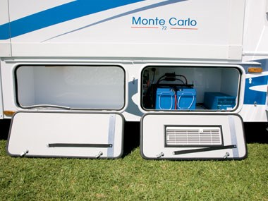 battery and storage Sunliner Monte Carlo M72 motorhome