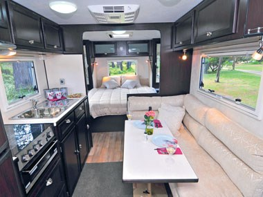 Kingston-Bell Park Royal caravan interior lounge kitchen and dinette