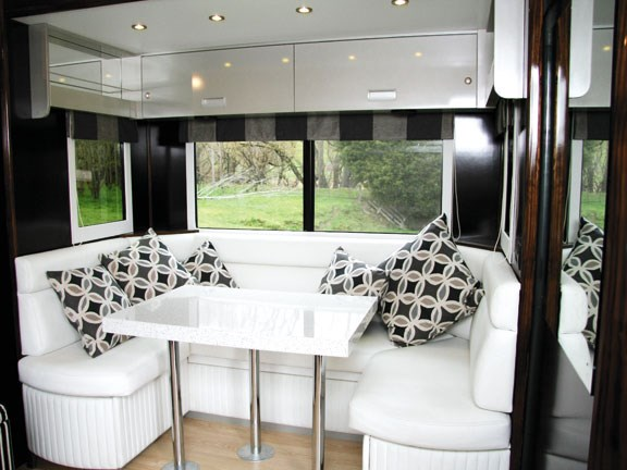 Comfy lounge dinette in Scania G 380 LB horse truck