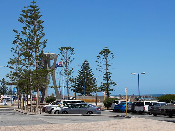 Scarborough beach and clock, Perth, Australia