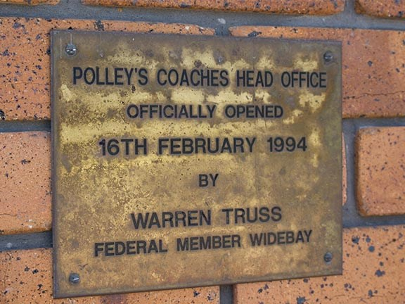 polleys coaches opening plaque