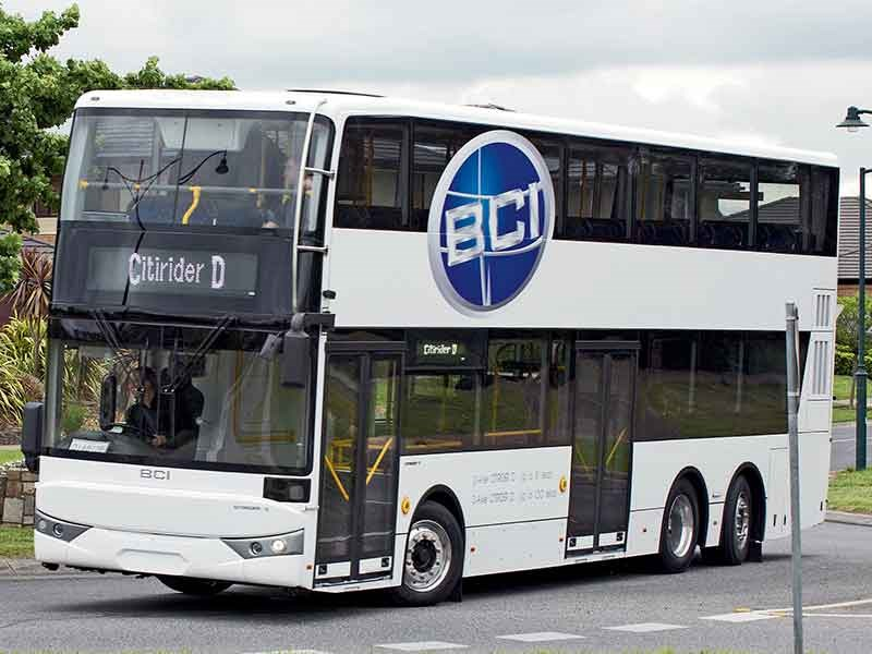 The exterior of the BCI Citirider double decker is clean and simple