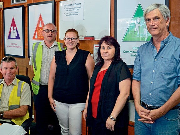 Brisbane Bus Lines administrative team members Mark Town, Wayne Simkin, Leith Gosney, Shannon Rowe and Steve Jackson