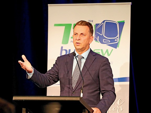 NSW Minister for Transport and Infrastructure Andrew Constance addresses delegates at the BusNSW Member Conference in Terrigal