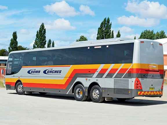 The 4.5m-long 3-axle MAN-Coach Design coach looks sharp from the outside