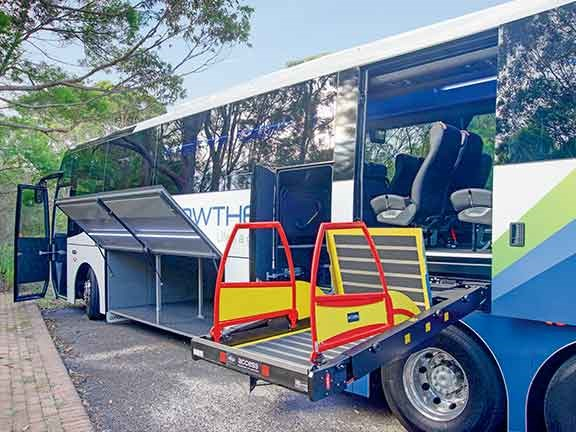 The wheelchair lift allows this coach to cater to all