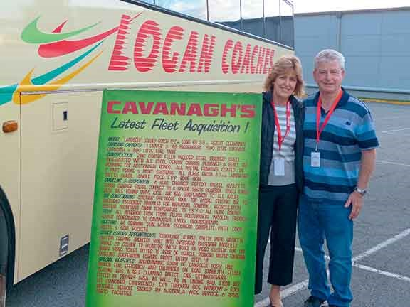 Jo and Peter Cavanagh with their distinctively liveried Landseer coach
