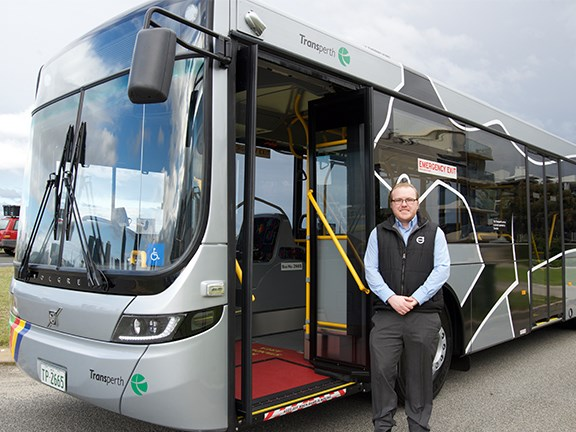 Volvo Bus Australia WA contracts and tech support manager Stuart Woodward with the B8RLE Euro 6 CAT (Central Area Transit) bus